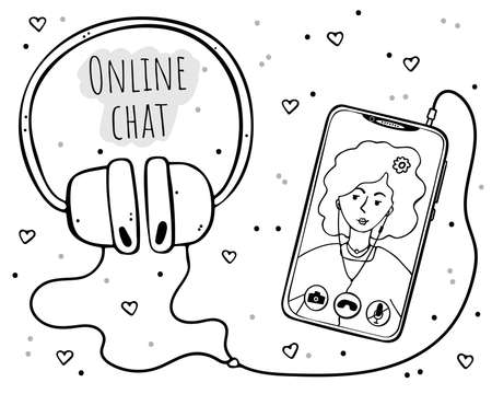 Phone with headphones. The girl on the screen in the video call window. Monochrome image on a white background.  イラスト・ベクター素材