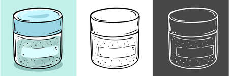 Illustration of cosmetic jars. Suitable for mask, cream, scrub. Three color options.