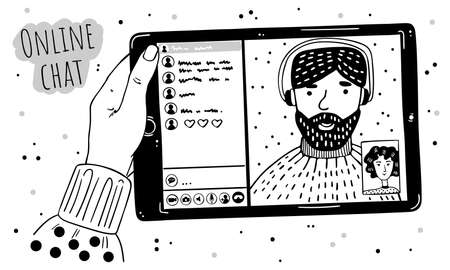 Illustration of a female hand holds a tablet. There is a video call on the screen. Friends are chatting.  イラスト・ベクター素材