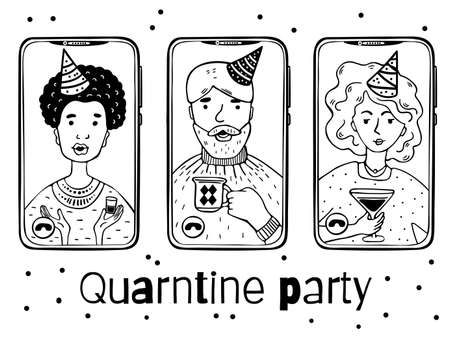 Illustration of people at an online quarantine party on phones. Monochrome characters on a white background.