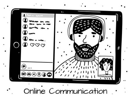 People talk on the video link on the tablet. Remote communication. Monochrome image on a white background.