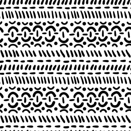 Modern simple seamless pattern of geometric objects. Ethnic motives. Black pattern on a white background.  イラスト・ベクター素材