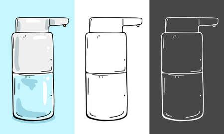 Dispenser for cosmetics. Suitable for sanitizer, liquid soap, shower gel. Three color schemes.  イラスト・ベクター素材