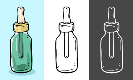 Glass bottle for cosmetics with a pipette. Suitable for serum, essential oil, emulsion. Three color options.