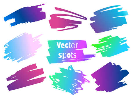 Set of vector spots. Neon gradients. Isolated spots on a white background.  イラスト・ベクター素材