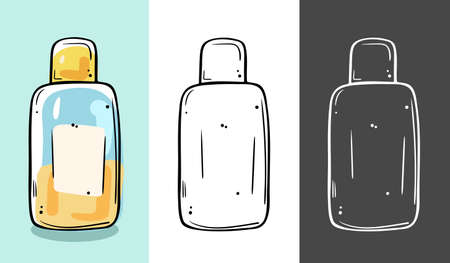 Illustration of a cosmetic in a bottle. Suitable for tonic, makeup remover, micellar water. Three color options.