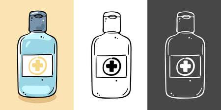 Illustration of a disinfectant gel bottle. Color options.