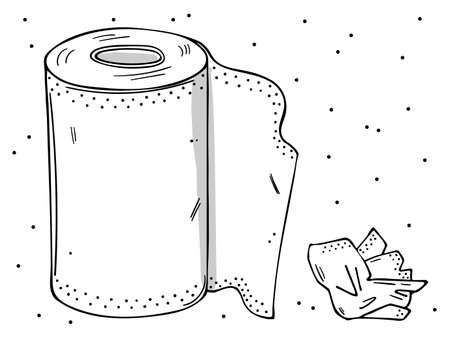 Illustration of a roll of paper towels and a used napkin. Monochrome image on a white.  イラスト・ベクター素材