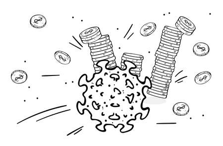 Coronavirus knocks down stacks of coins. Money is scattered. Describes a financial crisis due to a pandemic.