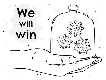 Poster with palm, coronavirus under a glass cap. We will win the coronavirus.