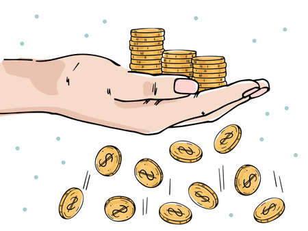 Hand holds stacks of coins. Losing coins. Depicts financial losses, reduced income, financial crisis.  イラスト・ベクター素材