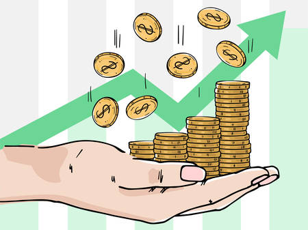 Palm with stacks of coins. Coins are falling down. Depicts profit growth, financial success, increase in cash. Color image on a white background.