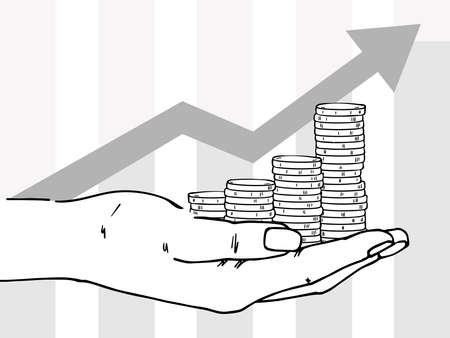 Palm with stacks of coins. In the background, the arrow goes up. Depicts profit growth, financial success.