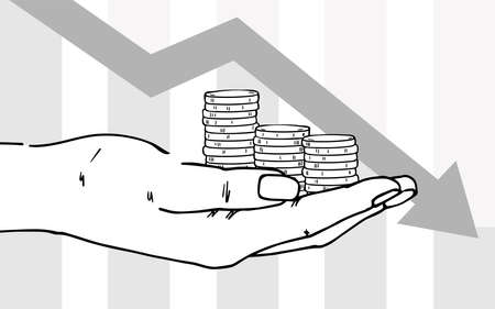 Hand holds stacks of coins. The arrow moves down. Depicts financial losses, reduced income, financial crisis.  イラスト・ベクター素材