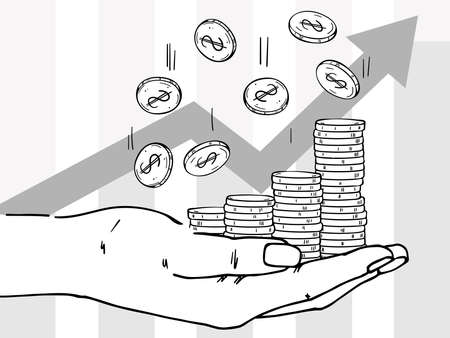 Palm with stacks of coins. Coins are falling down. Depicts profit growth, financial success, increase in cash.  イラスト・ベクター素材