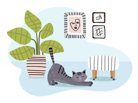 Modern home interior in light colors with a cat.  イラスト・ベクター素材
