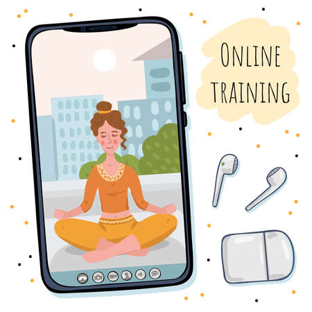 Girl leads a lesson online. Training on the phone screen.  イラスト・ベクター素材