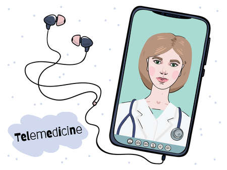 A female doctor is conducting an online counseling session. Telemedicine on a mobile phone screen.