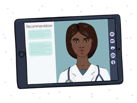 A dark-skinned female doctor conducts an online counseling session. Telemedicine on a tablet.