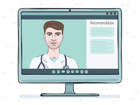 A male doctor conducts an online counseling session. Telemedicine on a monitor screen.