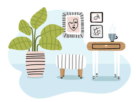 Cute modern scandinavian interior in cartoon style. Part of the hallway or room.  イラスト・ベクター素材