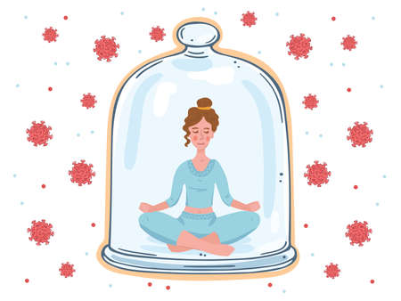 A girl under a glass dome inaccessible to viruses. Girl in a pose for meditation.