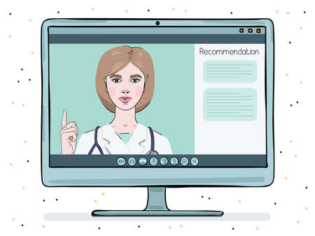 A female doctor is conducting an online counseling session. Telemedicine on a monitor screen.