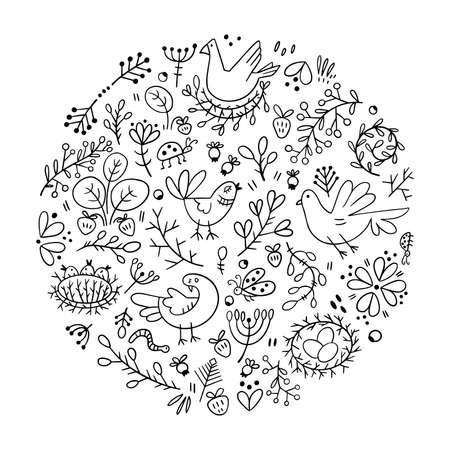 Design elements on the theme of nature, plants, birds. Doodle style in circle shape composition.