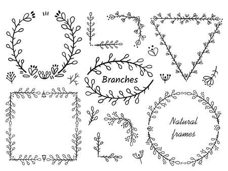 Frames and corners for text decoration. Design elements in doodle style. Natural style, branches, plants.