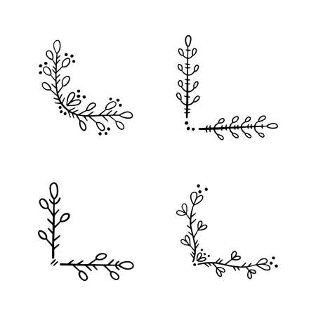 A set of corners for page decoration. Design elements in doodle style. Natural style, branches, plants.