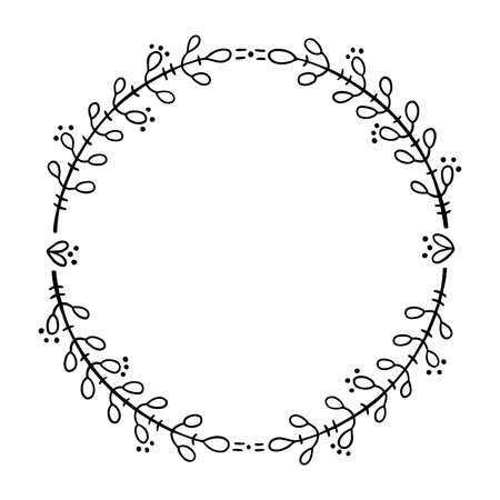 Round frame for text decoration in doodle style. Natural style, branches, plants, flowers.