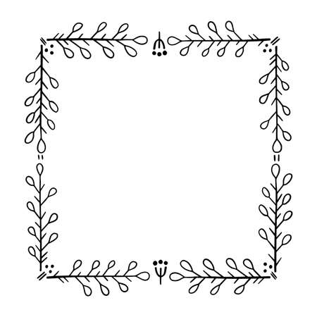 Square frame for text decoration in doodle style. Natural style, branches, plants, flowers.