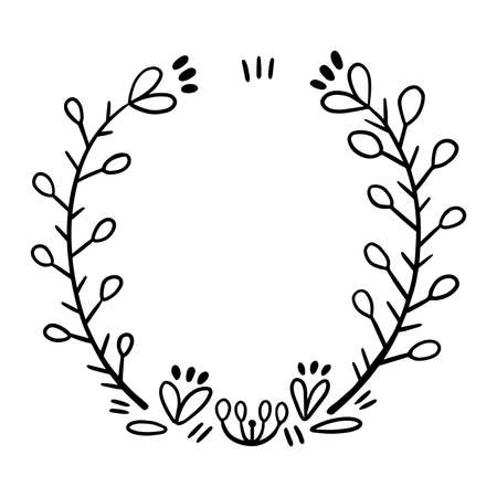 Frame of branches for text decoration in doodle style. Minimalistic, natural elements.