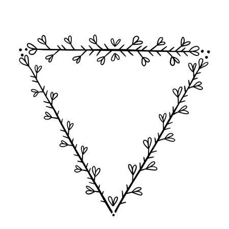 Triangular frame for text decoration in doodle style. Natural style, branches, plants, flowers.