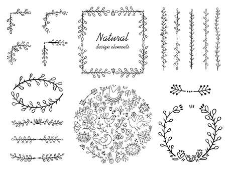 A set of corners and frames for page decoration. Design elements in doodle style. Natural style, branches, plants.