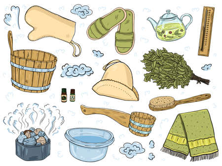 A set of items for the sauna. Isolated objects on a white background.  イラスト・ベクター素材