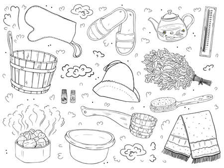 A set of items for the sauna. Isolated black outline objects on a white background.