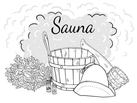 Composition of items for the sauna. Isolated black outline objects on a white background.  イラスト・ベクター素材