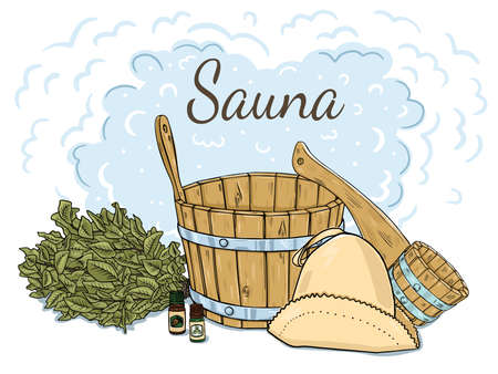 Composition of items for the sauna. Isolated objects on a white background. Doodle style.