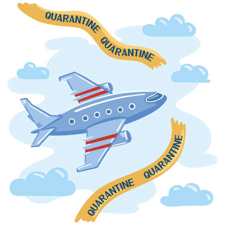 Illustration of an airplane flying in the sky through the borders. The removal of restrictions after quarantine.  イラスト・ベクター素材