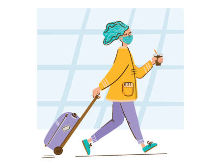 Illustration of a girl walking at the airport with a mask, luggage and coffee. Bright colours. Simple style.