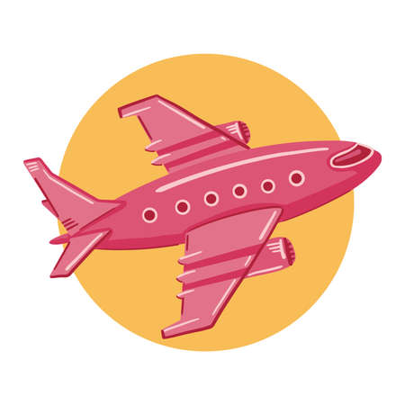 Illustration of a pink plane flies on a yellow circle background. Simple, cute style.