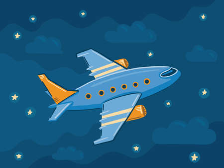 Illustration of an airplane flying in the night sky among the clouds and stars. Cute simple style.