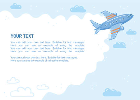 Illustration of an airplane in the sky with place for text. Blue template with blank space. Simple cute style.  イラスト・ベクター素材