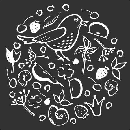 A set of illustrations on the theme of flora and fauna. Bird, shells, berries. White outline on a dark background.