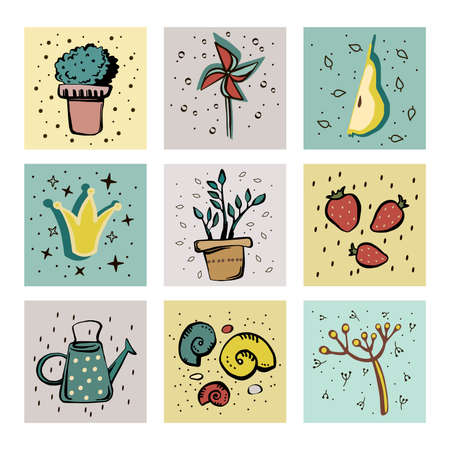A set of nine squares with illustrations for a garden, natural theme. Cute pictures on a colored background.