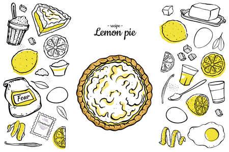 illustration open lemon pie ingredients for cooking