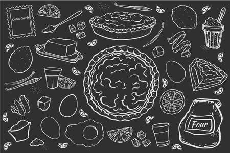 Illustration lemon pie and ingredients for cooking in black background. Chalk picture style.