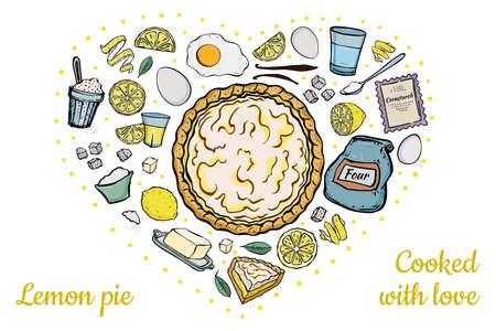 Illustration fresh open lemon pie recipe ingredients isolated on white love heart