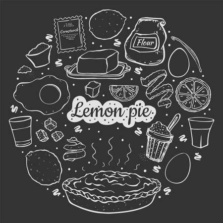 Illustration fresh sweet lemon pie isolated on black chalk board recipe in the shape of a circle